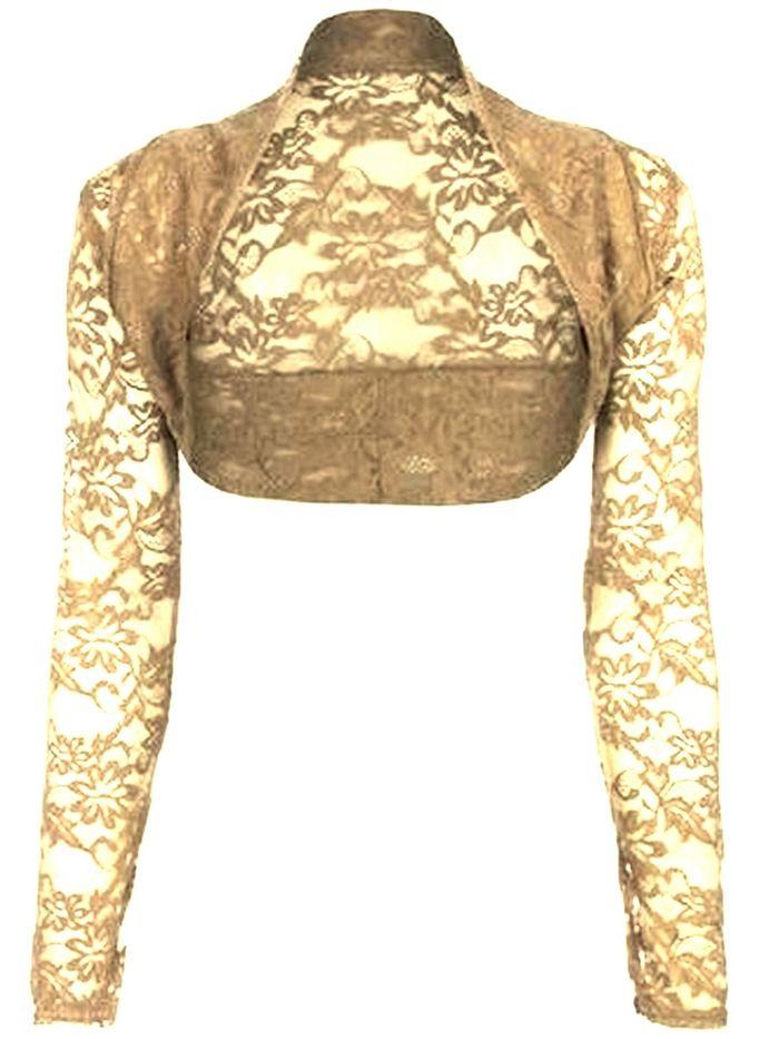 ... Langarm Bolero Spitzen Stola Bolerojacke in beige One Size XS-M  eBay